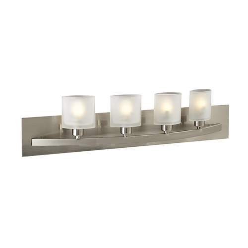 PLC Lighting Modern Bathroom Light with White Glass in Satin Nickel Finish 644 SN