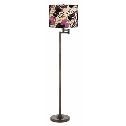 Design Classics Lighting Bronze Swing Arm Floor Lamp with Drum Shade 1901-1-604 SH9500