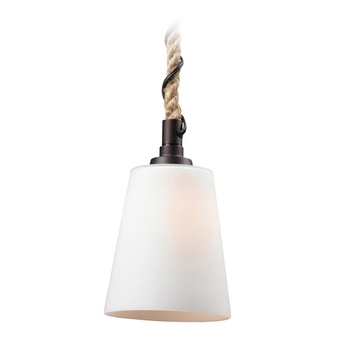 Elk Lighting Elk Lighting Natural Rope Aged Bronze LED Mini-Pendant Light with Empire Shade 63012-1-LED