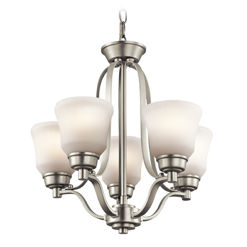 Kichler Lighting Kichler Mini-Chandelier with White Glass in Brushed Nickel Finish 1788NI