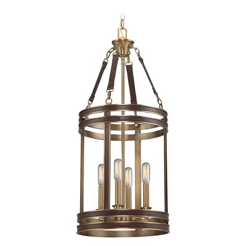 Savoy House Savoy House Lighting Harrington Harness Leather W/ Rubbed Brass Pendant Light 3-612-4-50