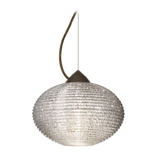Besa Lighting Besa Lighting Pape Bronze LED Pendant Light with Globe Shade 1KX-4912GL-LED-BR