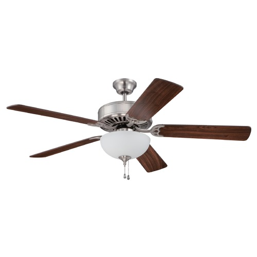 Craftmade Lighting Craftmade Pro Builder 207 Brushed Polished Nickel Ceiling Fan with Light K11205