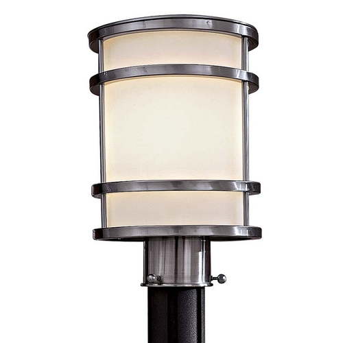 Minka Lighting Modern Post Light with White Glass in Stainless Steel Finish 9806-144