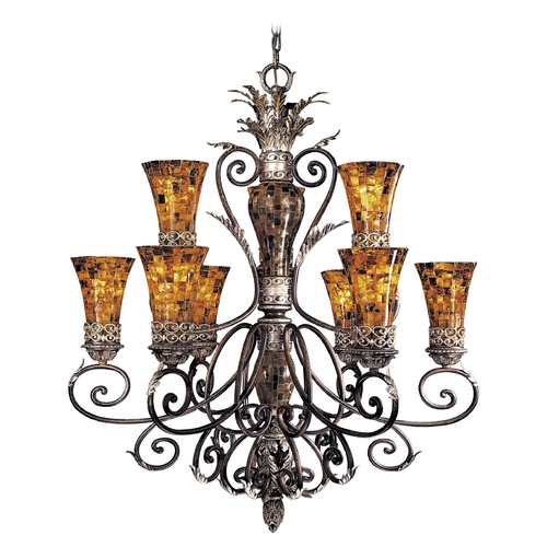 Metropolitan Lighting Chandelier with Amber Glass in Cattera Bronze Finish N6518-468