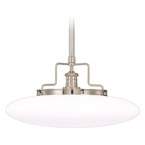 Hudson Valley Lighting Modern Pendant Light with White Glass in Polished Nickel Finish 4225-PN