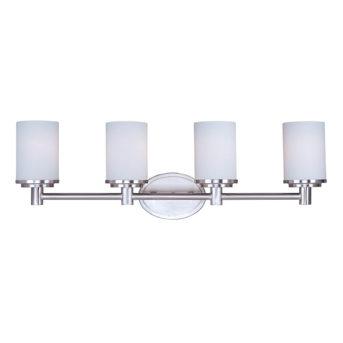 Maxim Lighting Modern Bathroom Light with White Glass in Satin Nickel Finish 9054SWSN