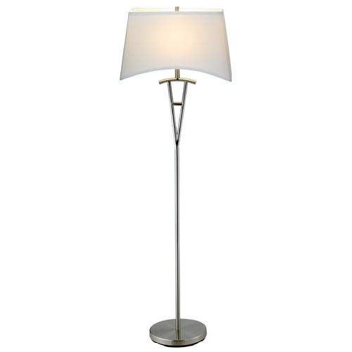 Adesso Home Lighting Modern Floor Lamp with White Shade in Satin Steel Finish 3657-22