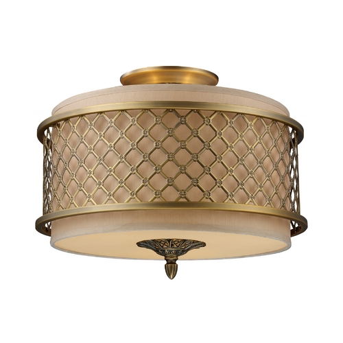 Elk Lighting Semi-Flushmount Lights in Brushed Antique Brass Finish 31031/3