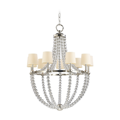 Hudson Valley Lighting Chandelier with White Shades in Polished Nickel Finish 3119-PN-WS