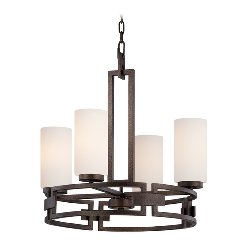 Designers Fountain Lighting Chandelier with White Glass in Flemish Bronze Finish 83884-FBZ
