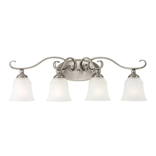 Sea Gull Lighting Bathroom Light with White Glass in Antique Brushed Nickel Finish 49383BLE-965
