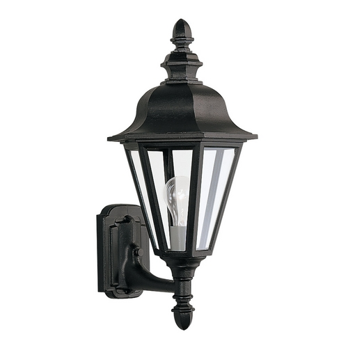 Sea Gull Lighting Outdoor Wall Light with Clear Glass in Black Finish 8824-12