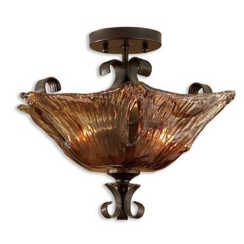 Uttermost Lighting Two-Light Semi-Flush Ceiling Light 22200