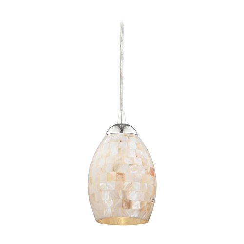 Design Classics Lighting Chrome Mini-Pendant Light with Mosaic Glass 582-26 GL1034
