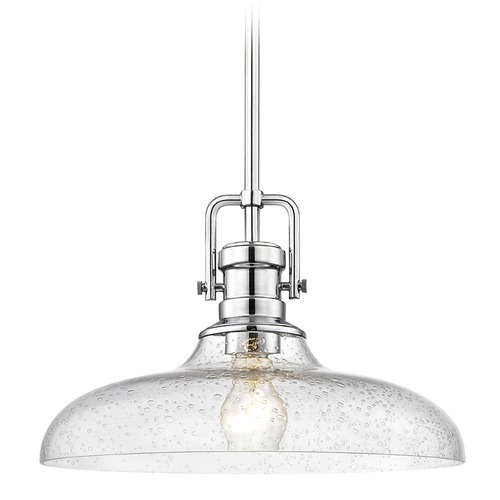 Design Classics Lighting Seeded Glass Pendant Light Chrome Finish  14-Inch Wide 1763-26 G1784-CS