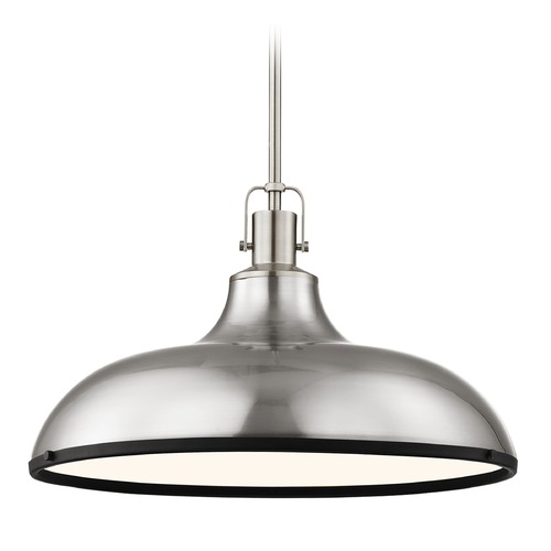 Design Classics Lighting Nautical Metal Pendant Light Satin Nickel and Black 18.38-Inch Wide 1762-09 SH1779-09 R1779-07