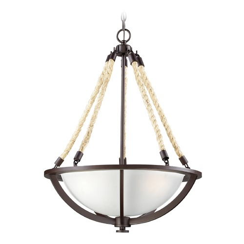 Elk Lighting Elk Lighting Natural Rope Aged Bronze LED Pendant Light with Bowl / Dome Shade 63013-3-LED
