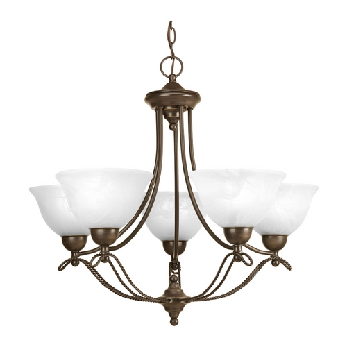 Progress Lighting Chandelier with Alabaster Glass in Antique Bronze Finish P4068-20