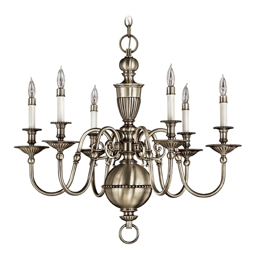Hinkley Lighting Six-Light Candlestick Design Chandelier 4416PW