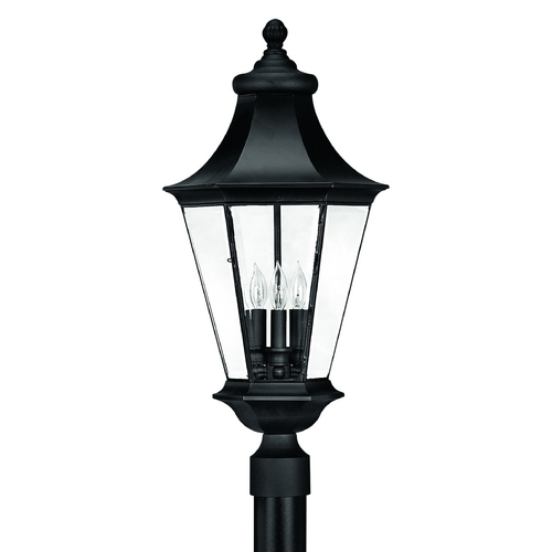 Hinkley Lighting Post Light with Clear Glass in Black Finish 2501BK