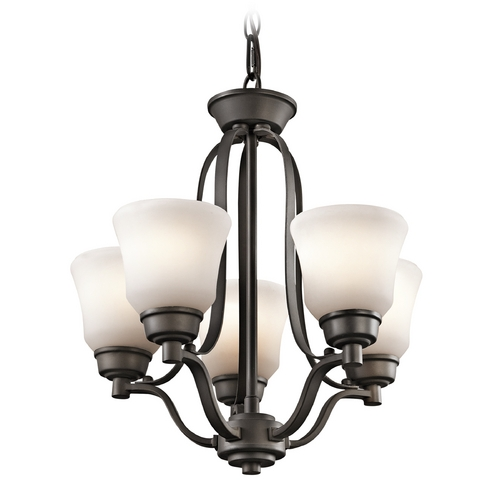 Kichler Lighting Kichler Mini-Chandelier with White Glass in Olde Bronze Finish 1788OZ