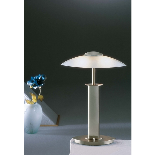 Holtkoetter Lighting Holtkoetter Modern Table Lamp with White Glass in Satin Nickel Finish 6243 SN SW