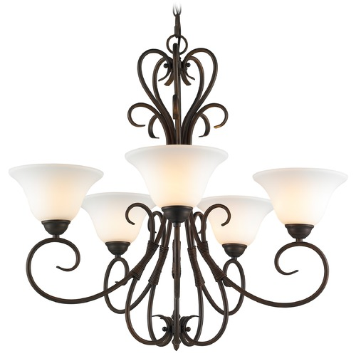 Golden Lighting Golden Lighting Homestead Rubbed Bronze Chandelier 8606-5 RBZ-OP