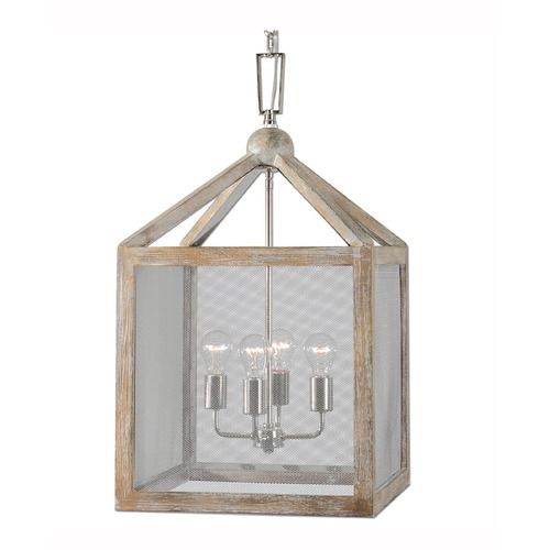 Uttermost Lighting Uttermost Nashua 4 Light Wooden Lantern Pendant 22050