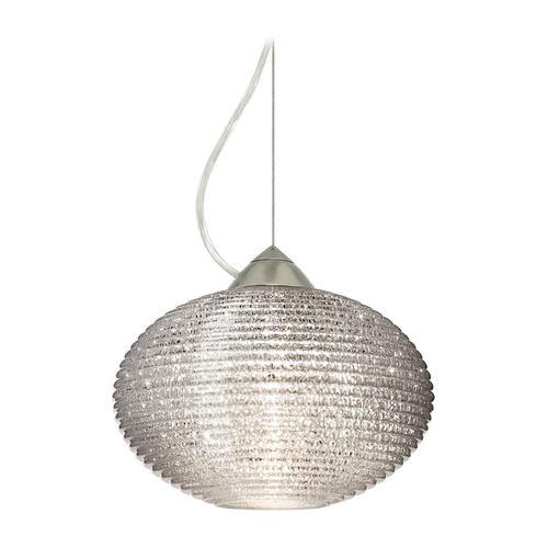 Besa Lighting Besa Lighting Pape Satin Nickel LED Pendant Light with Globe Shade 1KX-4912GL-LED-SN