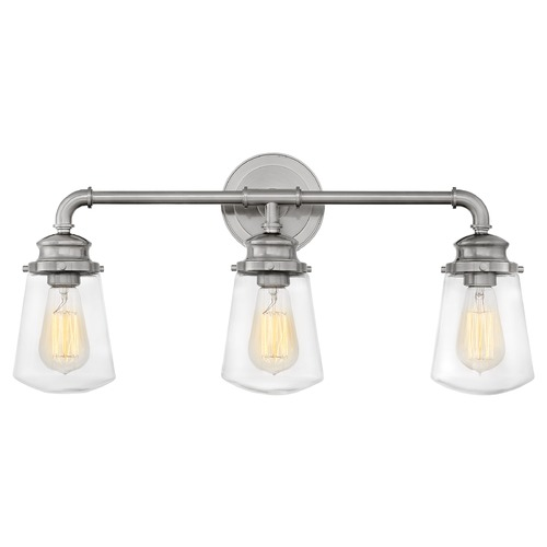 Hinkley Hinkley Fritz 3-Light Brushed Nickel Bathroom Light with Clear Glass 5033BN