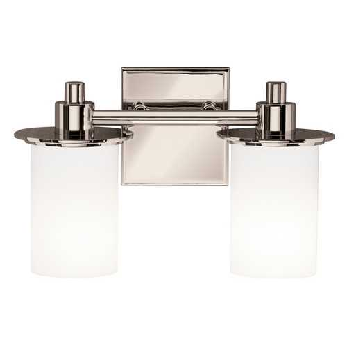 Kichler Lighting Kichler Polished Nickel Modern Bathroom Light with White Glass 5437PN