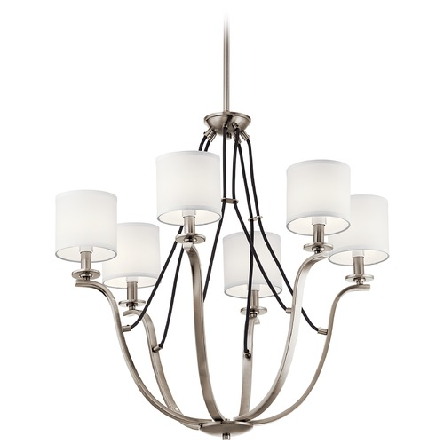 Kichler Lighting Thisbe 6-Light Classic Pewter Chandelier with White Linen Fabric Shade 43532CLP