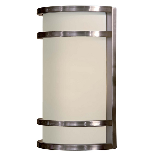 Minka Lavery Modern Outdoor Wall Light with White Glass in Stainless Steel Finish 9802-144