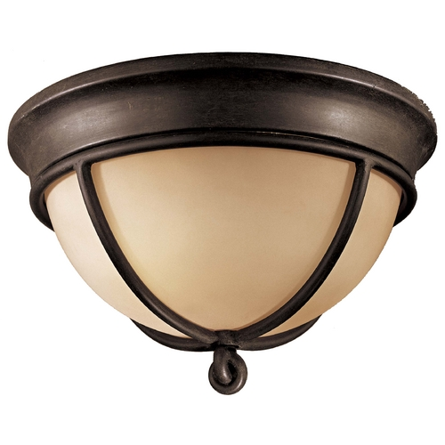 Minka Lavery Flushmount Light with Beige / Cream Glass in Aspen Bronze Finish 976-1-138
