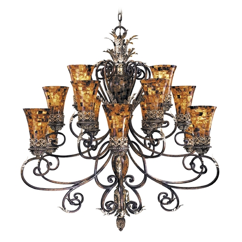 Metropolitan Lighting Chandelier with Amber Glass in Cattera Bronze Finish N6519-468