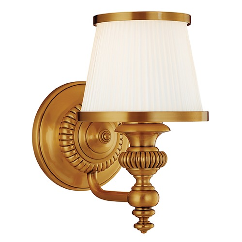 Hudson Valley Lighting Sconce with White Glass in Flemish Brass Finish 2001-FB