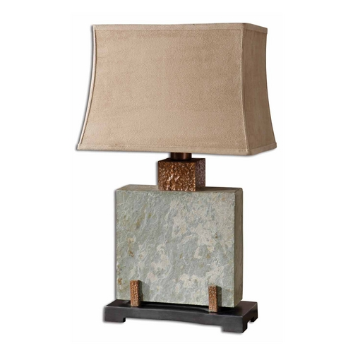 Uttermost Lighting Table Lamp in Handcarved Slate / Hammered Copper Finish 26321-1