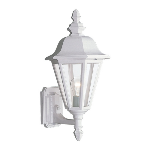 Sea Gull Lighting Outdoor Wall Light with Clear Glass in White Finish 8824-15
