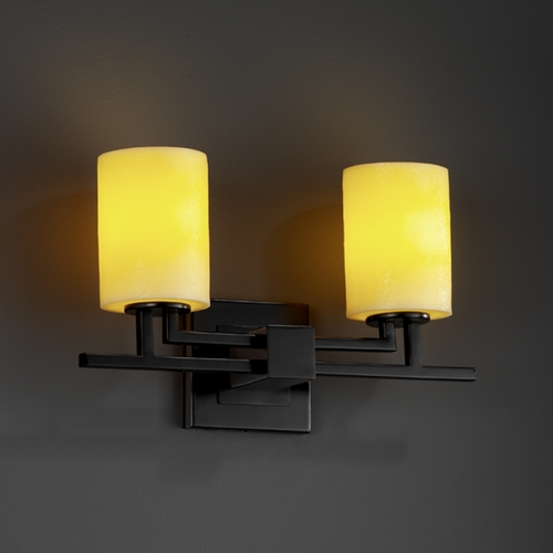 Justice Design Group Justice Design Group Candlearia Collection Bathroom Light CNDL-8702-10-AMBR-MBLK