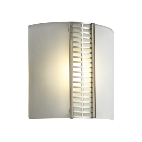 PLC Lighting Modern Sconce Wall Light with White Glass in Satin Nickel Finish 6424 SN