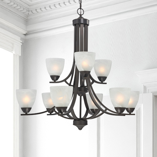 Design Classics Lighting Modern Bronze Chandelier with Nine Lights 223-78
