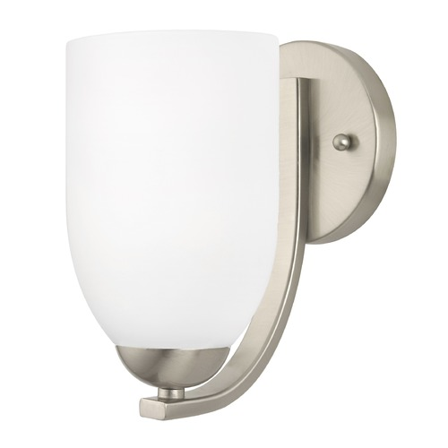 Design Classics Lighting Modern Wall Sconce with White Glass in Satin Nickel Finish 585-09 GL1028D