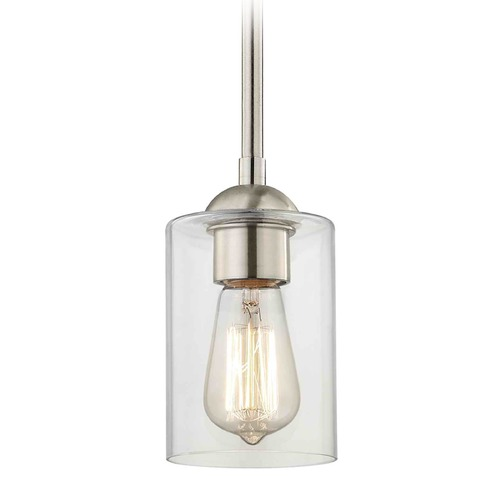 Design Classics Lighting Design Classics Gala Fuse Satin Nickel Mini-Pendant Light with Cylindrical Shade 581-09 GL1040C