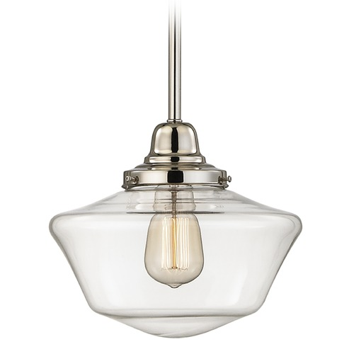 Design Classics Lighting 10-Inch Clear Glass Schoolhouse Mini-Pendant Light in Polished Nickel Finish FB4-15 / GA10-CL
