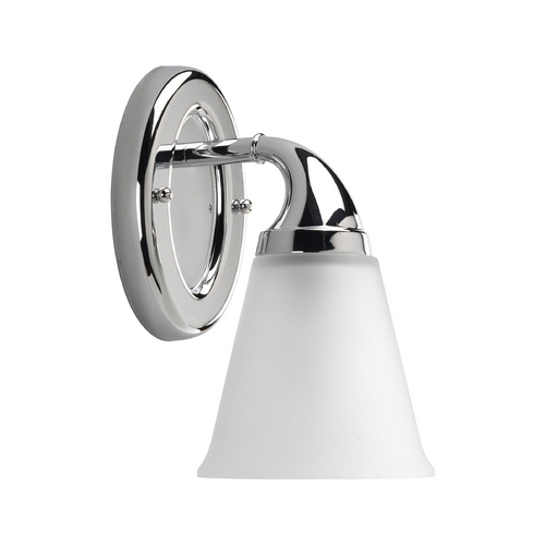 Progress Lighting Progress Sconce Wall Light with White Glass in Chrome Finish P2758-15