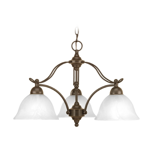 Progress Lighting Chandelier with Alabaster Glass in Antique Bronze Finish P4070-20