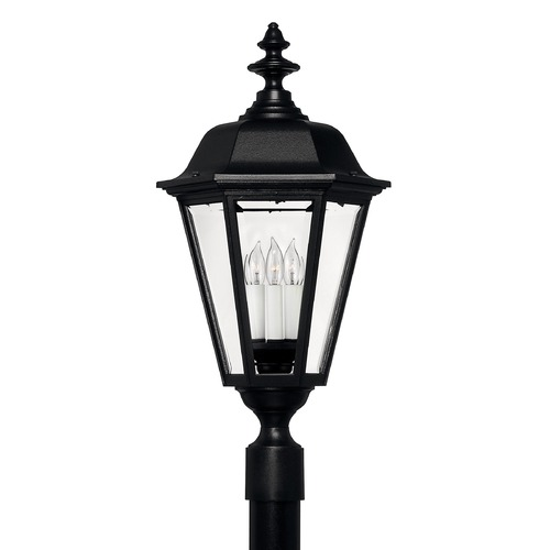 Hinkley Post Light with Clear Glass in Black Finish 1471BK