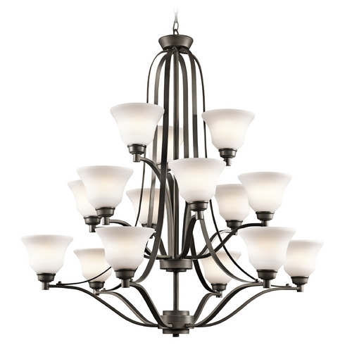 Kichler Lighting Kichler Chandelier with White Glass in Olde Bronze Finish 1789OZ