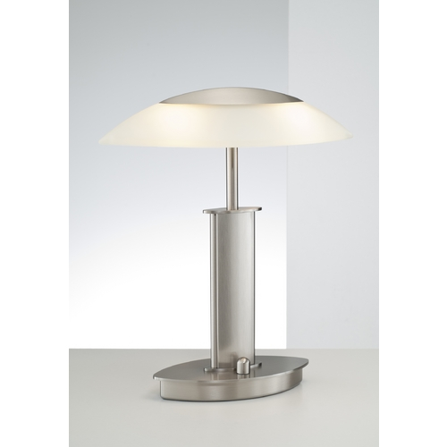 Holtkoetter Lighting Holtkoetter Modern Table Lamp with Beige / Cream Glass in Satin Nickel Finish 6244 SN CHA